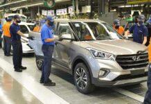 linha de produção, fábrica, Hyundai, automóveis